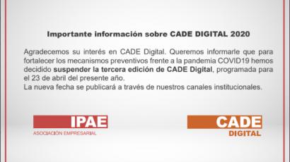 #CADEdigital 2020 reprograma fecha como medida de prevención
