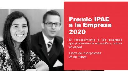 NOTA DE PRENSA – IPAE Asociación Empresarial lanza el Premio IPAE a la Empresa 2020 en las categorías Educación y Cultura
